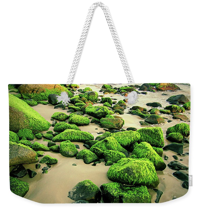 Tranquility Weekender Tote Bag featuring the photograph Beach Rocks Covered With Seaweed by Andre Bernardo