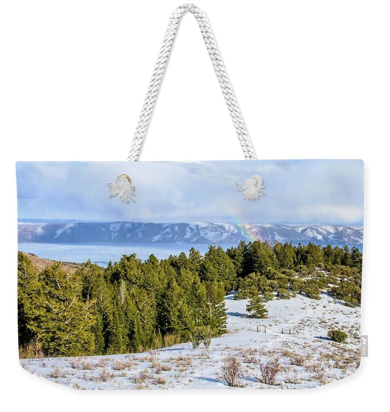 Tranquility Weekender Tote Bag featuring the photograph Bear Lake Scenic Byway by ©anitaburke