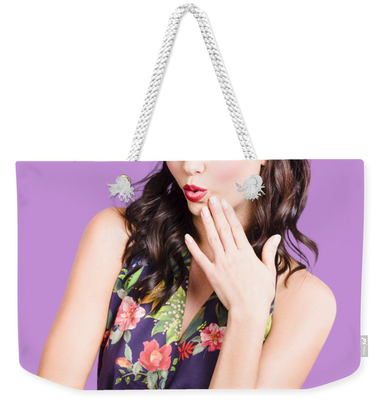 Woman Weekender Tote Bag featuring the photograph Beautiful Girl With Red Lips Expressing Surprise by Jorgo Photography - Wall Art Gallery