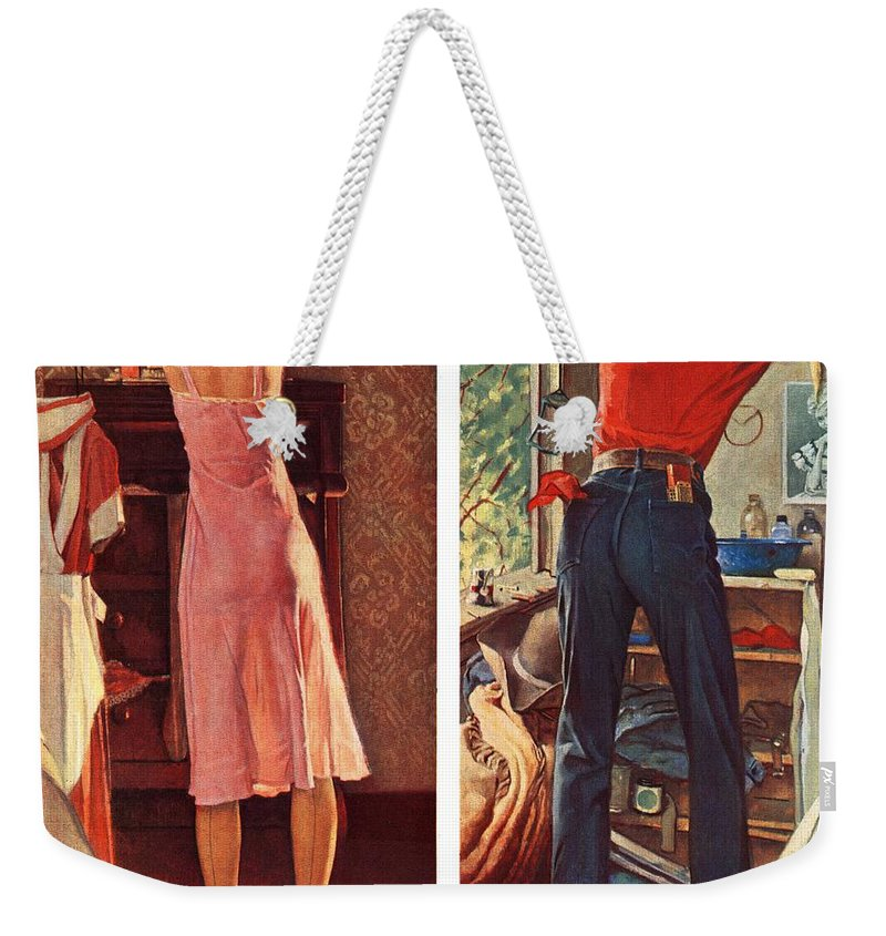 Cowboy Weekender Tote Bag featuring the drawing Before The Date by Norman Rockwell