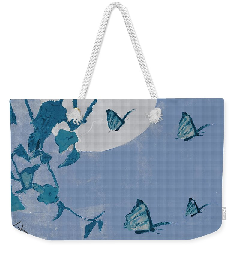 Butterfly Weekender Tote Bag featuring the mixed media Before The Moon by Thomas Tribby