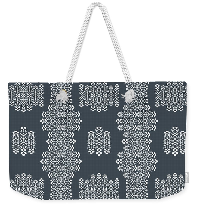 Grey And White Weekender Tote Bag featuring the digital art Bella Cake Shea by Ceil Diskin
