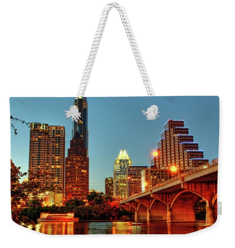 Arch Weekender Tote Bag featuring the photograph Below Congress Avenue Bridge by David Hensley