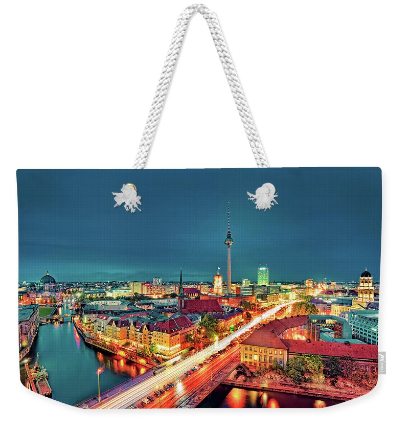 Alexanderplatz Weekender Tote Bag featuring the photograph Berlin City At Night by Matthias Haker Photography