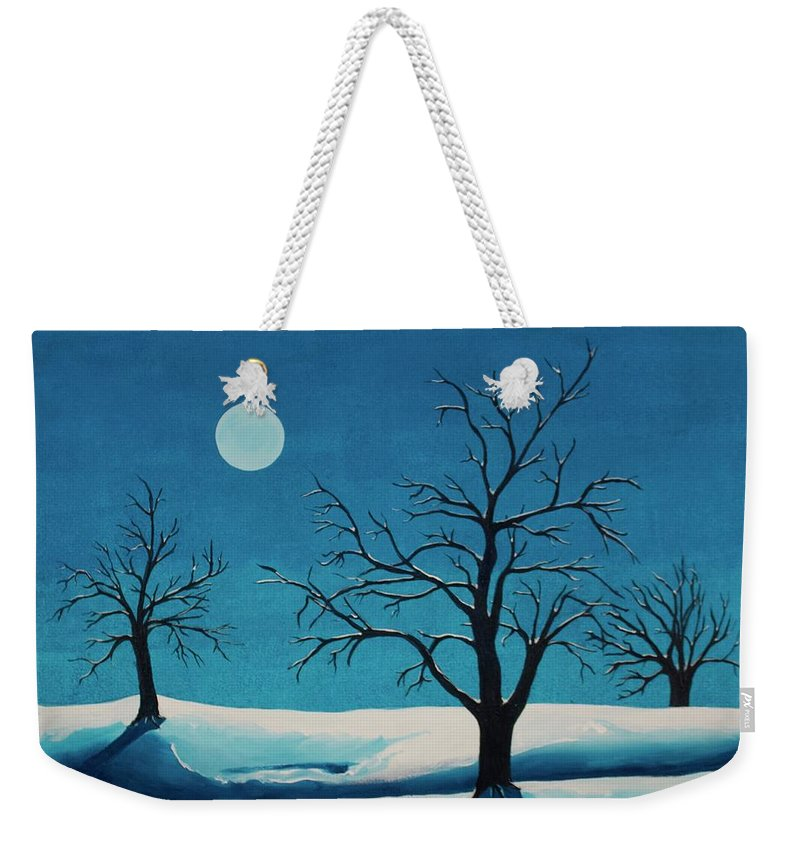 Blue Weekender Tote Bag featuring the painting Beyond This Moment by Rollin Kocsis