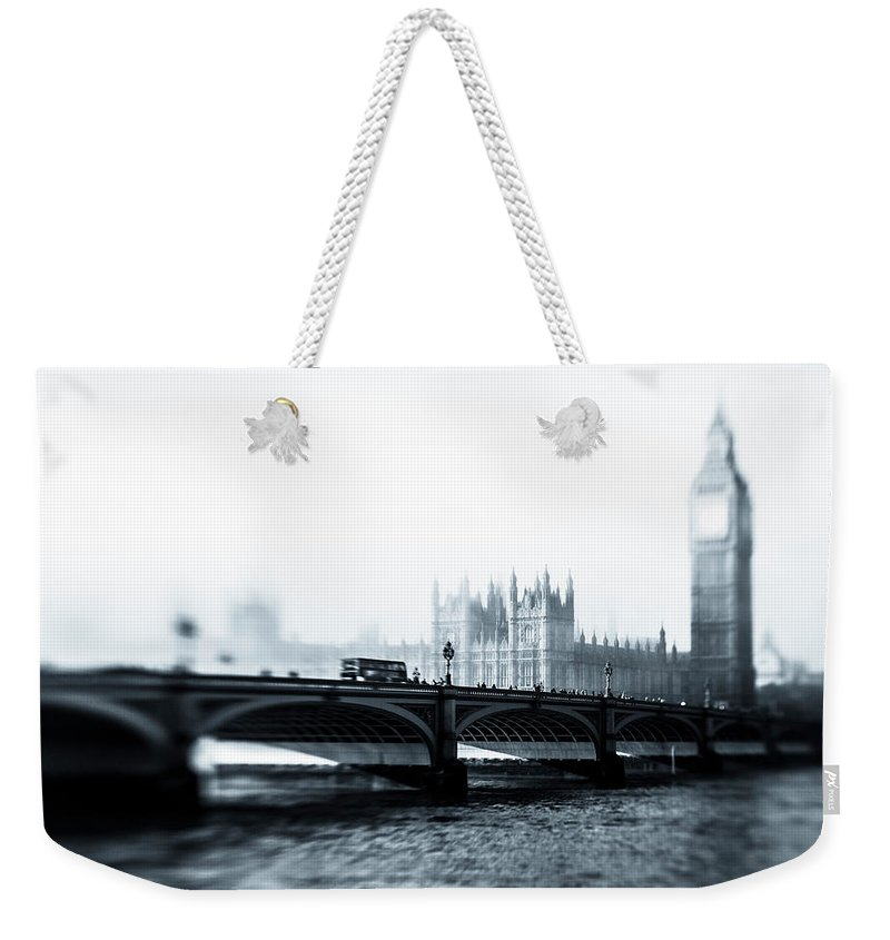 Clock Tower Weekender Tote Bag featuring the photograph Big Ben And Houses Of Parliament In The by Cirano83