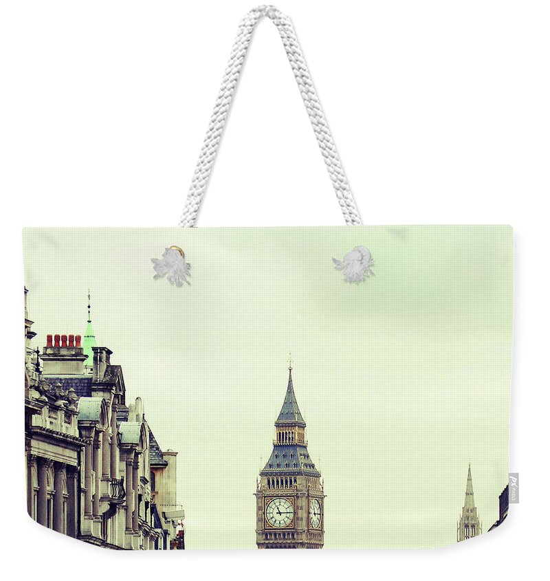 Clock Tower Weekender Tote Bag featuring the photograph Big Ben As Seen From Trafalgar Square by Image - Natasha Maiolo