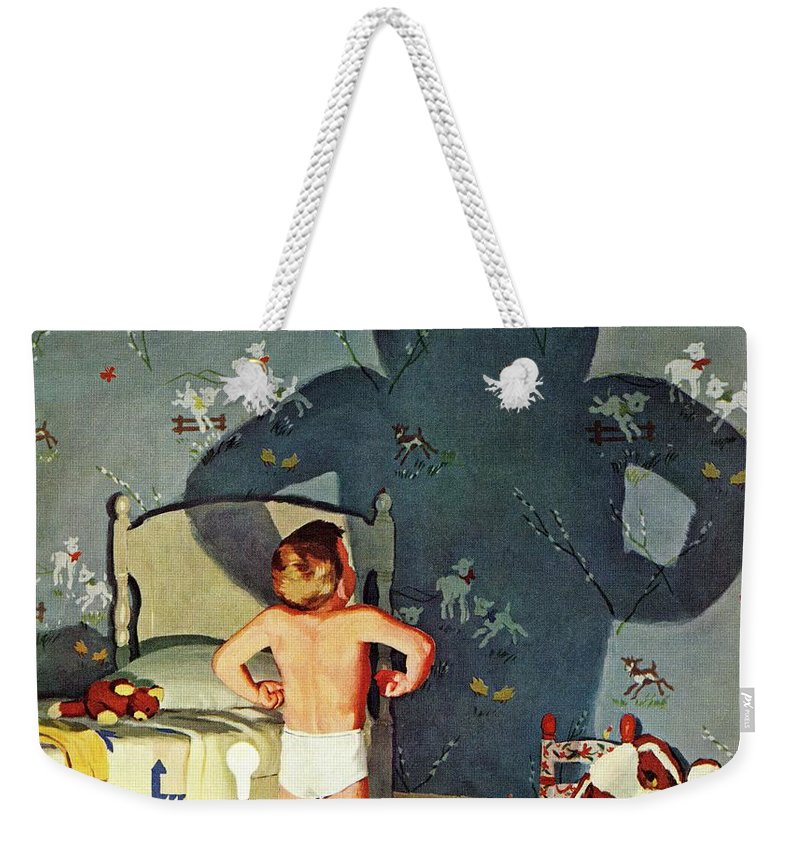 Boys Weekender Tote Bag featuring the drawing Big Shadow, Little Boy by Richard Sargent