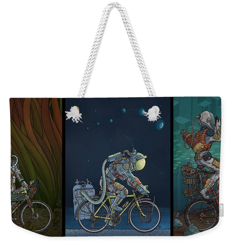 Bikes Weekender Tote Bag featuring the photograph Bikestronaut Triptych by Evan Miller