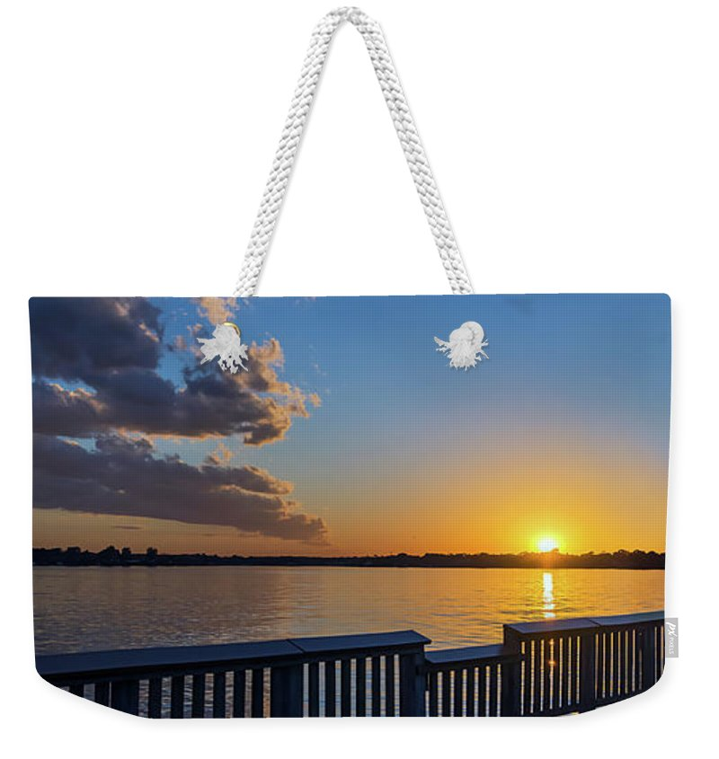 2d Weekender Tote Bag featuring the photograph Bill Burton Pier At Sunset by Brian Wallace