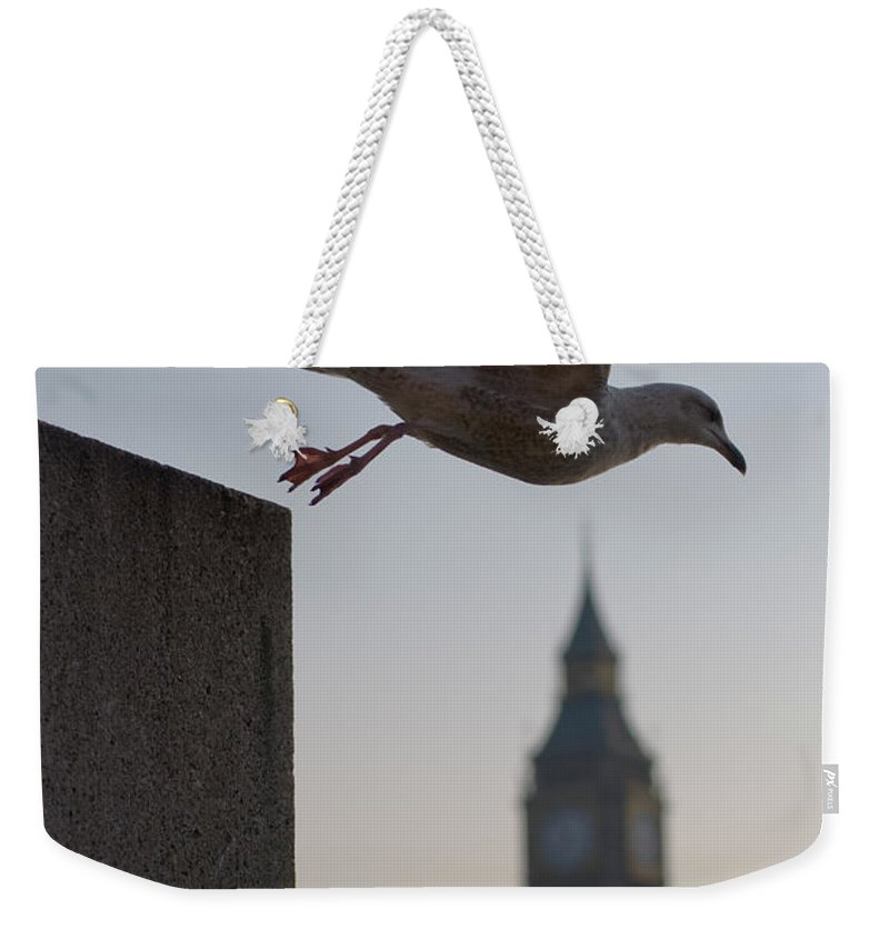 Clock Tower Weekender Tote Bag featuring the photograph Bird Takeoff by Photograph © Jon Cartwright