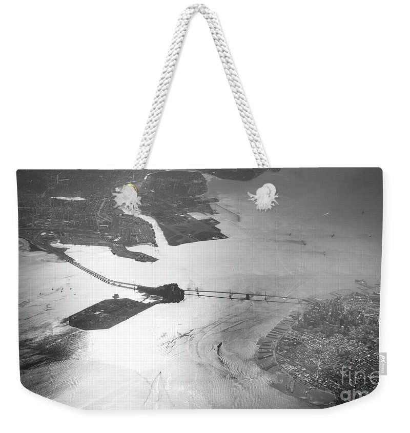 Bridge Weekender Tote Bag featuring the photograph Black And White Aerial View Of Downtown San Francisco With Sun R by PorqueNo Studios