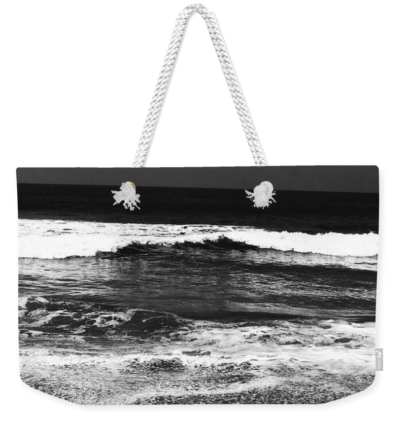 Beach Weekender Tote Bag featuring the photograph Black And White Beach 7- Art By Linda Woods by Linda Woods