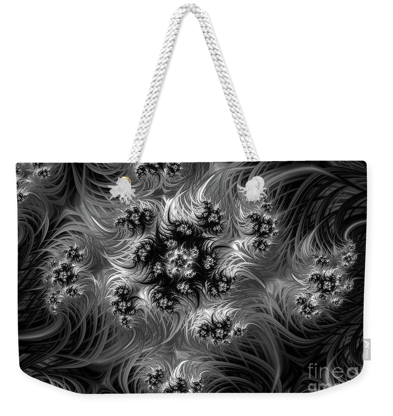 Black And White Fractal Weekender Tote Bag featuring the digital art Black and White Flames by Ann Garrett