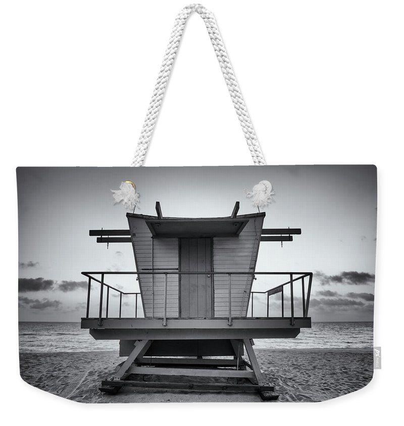 Outdoors Weekender Tote Bag featuring the photograph Black And White Lifeguard Stand In by Boogich
