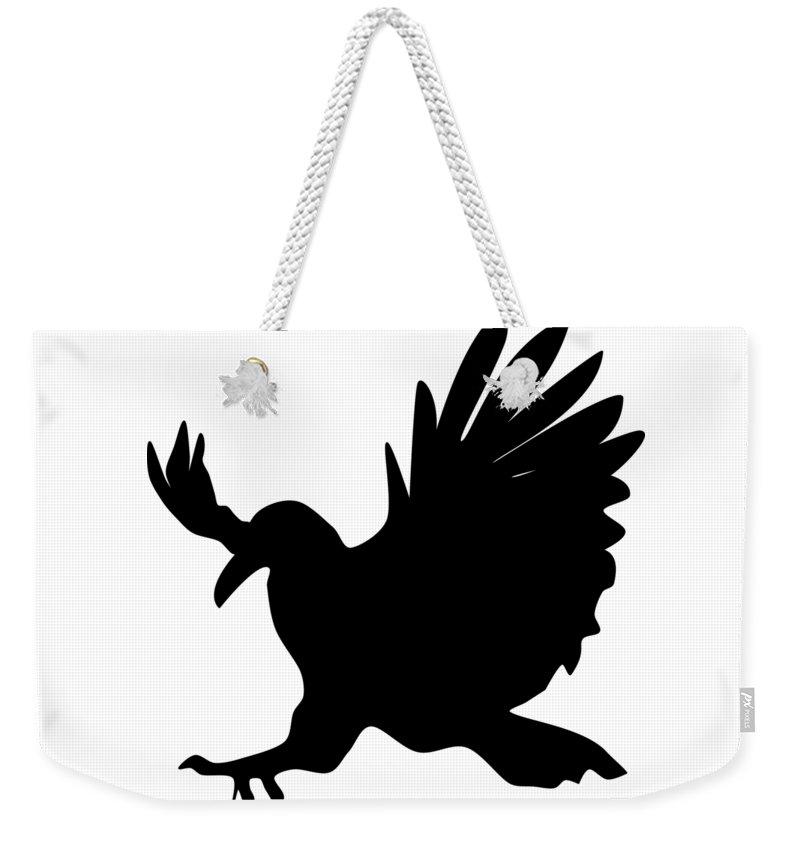 Crow Weekender Tote Bag featuring the digital art Black Crow by Patricia Piotrak
