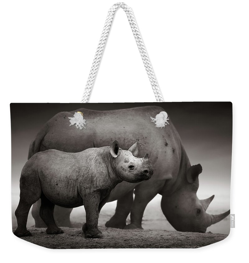 Wild Weekender Tote Bag featuring the photograph Black Rhinoceros Baby And Cow by Johan Swanepoel