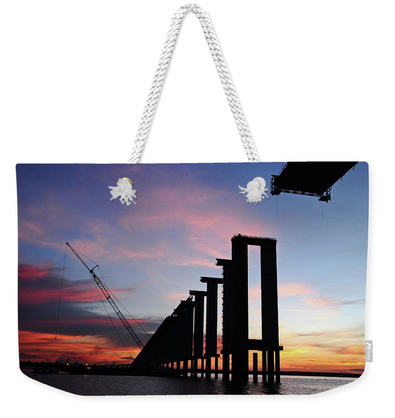 Tranquility Weekender Tote Bag featuring the photograph Black River Bridge by Fabionutti