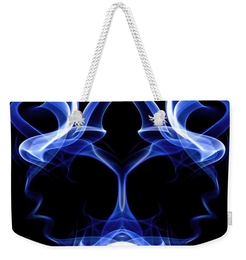 Art Weekender Tote Bag featuring the digital art Blue Ghostly Headgear by David Crausby