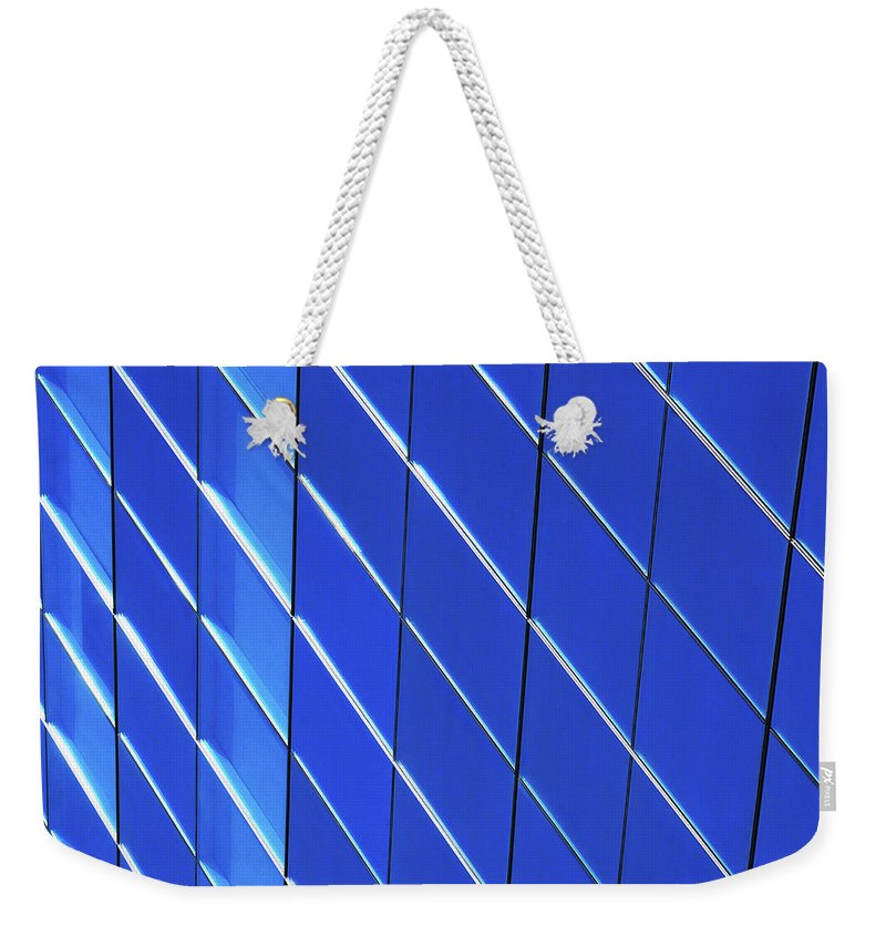 Outdoors Weekender Tote Bag featuring the photograph Blue Glass Modern Building by Joelle Icard