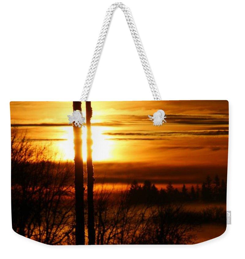 Blue Heron Weekender Tote Bag featuring the digital art Blue Heron Sunrise 2 by Nick Gustafson