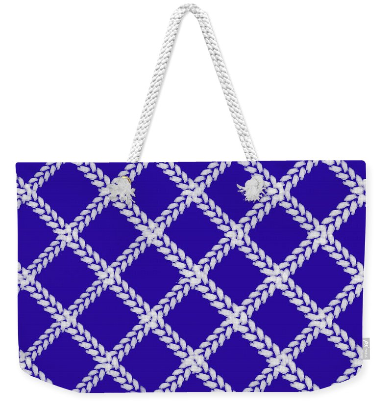 Blue Knit Weekender Tote Bag featuring the digital art Blue Knit by Priscilla Wolfe