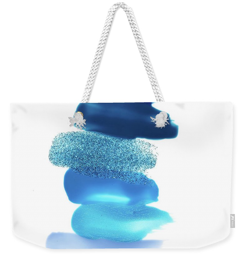 White Background Weekender Tote Bag featuring the photograph Blue Nail Polish Swatches by David Lewis Taylor