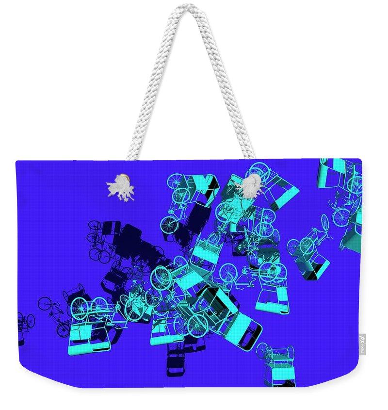 Rickshaw Weekender Tote Bag featuring the digital art Blue Rickshaws Flying by Heike Remy