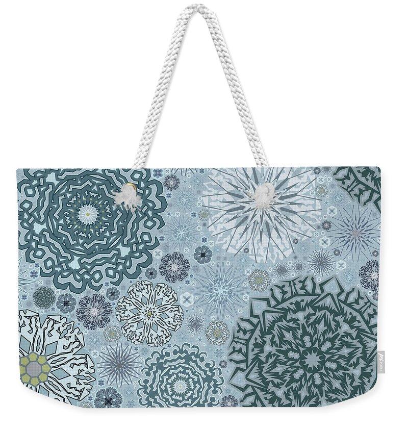 Art Weekender Tote Bag featuring the digital art Blue Snowflake Pattern by Bodhi Hill
