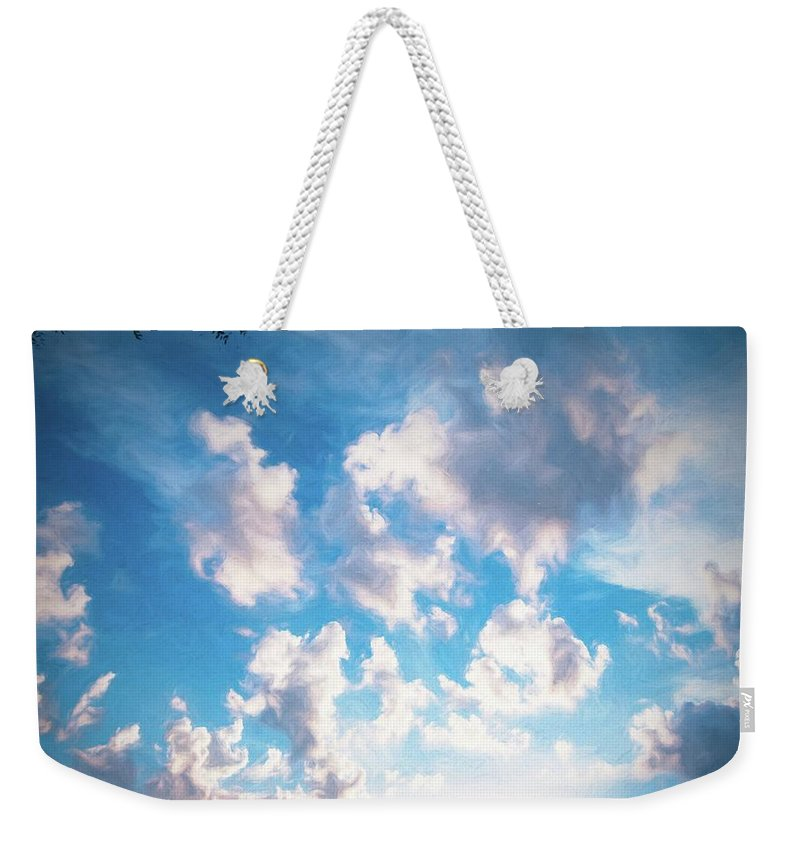 Art Weekender Tote Bag featuring the digital art Blue Sunset Skies by Michael Campbell