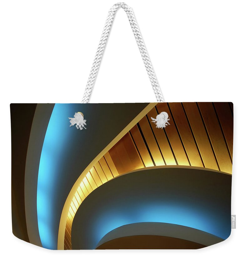 Curve Weekender Tote Bag featuring the photograph Blue Swirl by Copyright Ralph Grunewald