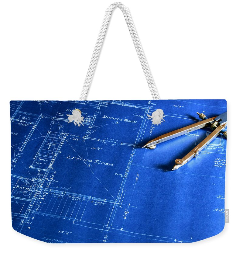 Plan Weekender Tote Bag featuring the photograph Blueprint With A Drafting Compass by Zuki