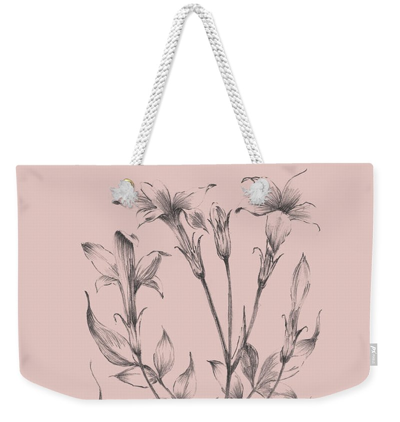 Flower Weekender Tote Bag featuring the mixed media Blush Pink Flower Sketch II by Naxart Studio