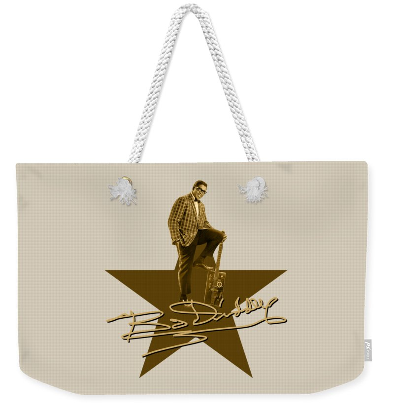Bo Diddley Weekender Tote Bag featuring the digital art Bo Diddley - Signature by David Richardson