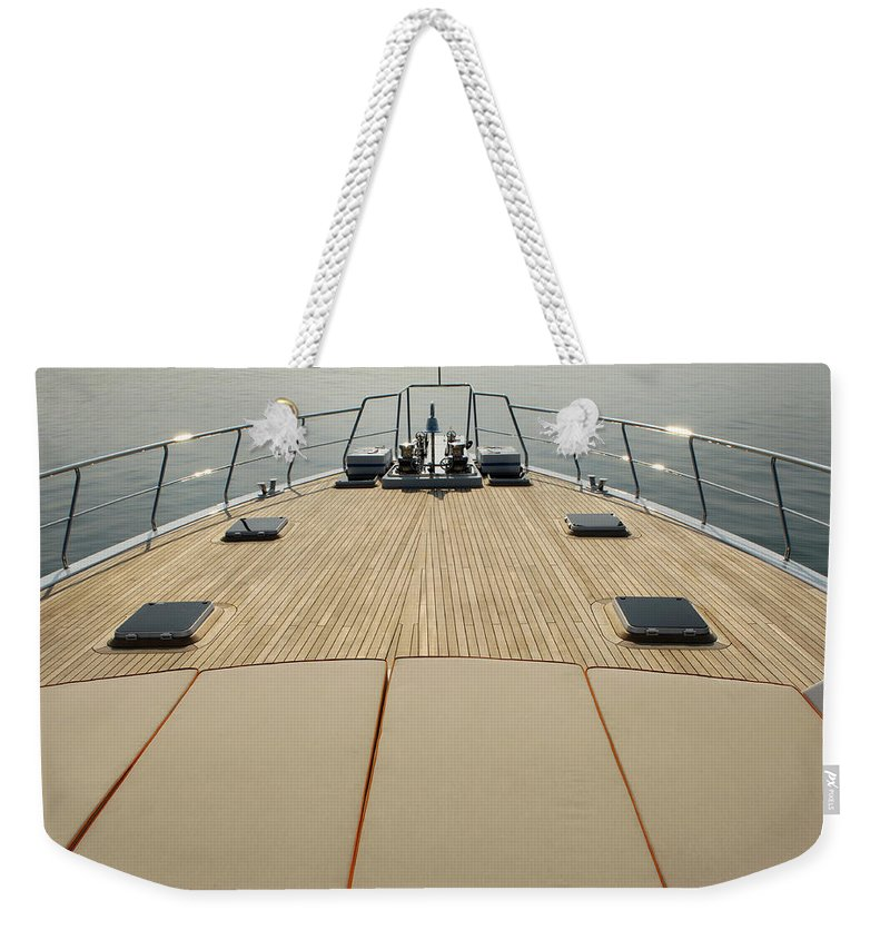 Seascape Weekender Tote Bag featuring the photograph Boat Deck by 1001nights
