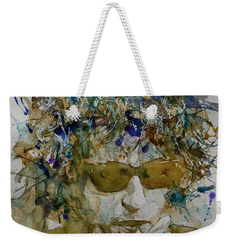 Bob Dylan Weekender Tote Bag featuring the painting Bob Dylan - Knocking On Heavens Door by Paul Lovering
