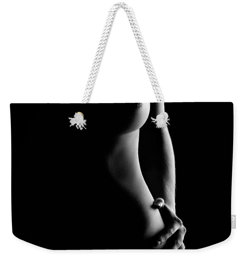 Nude Weekender Tote Bag featuring the photograph Bodyscape nude woman standing by Johan Swanepoel