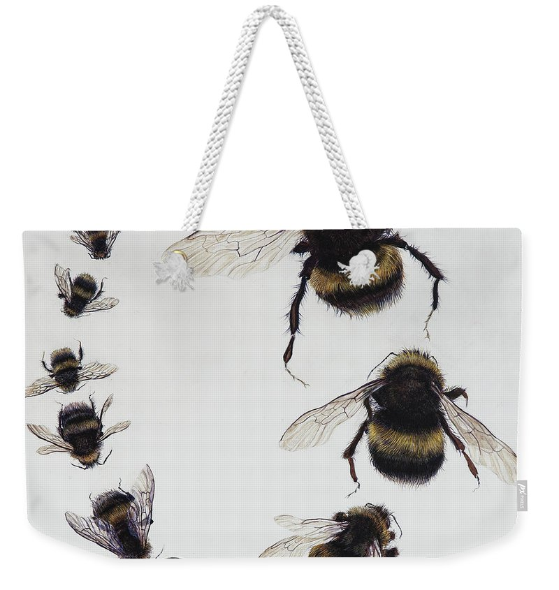 Nature Weekender Tote Bag featuring the painting Bombus by Odile Kidd