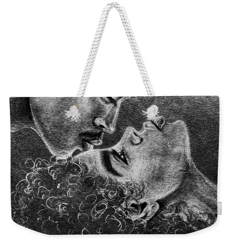 Marriage Weekender Tote Bag featuring the drawing Bone of my Bone by Artist RiA