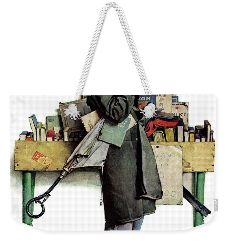 Books Weekender Tote Bag featuring the drawing Bookworm by Norman Rockwell