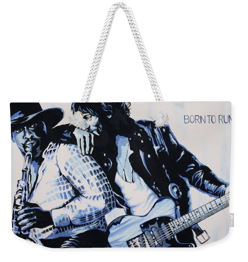 Bruce Springsteen Weekender Tote Bag featuring the painting Born to Run Bruce Springsteen by Amy Belonio