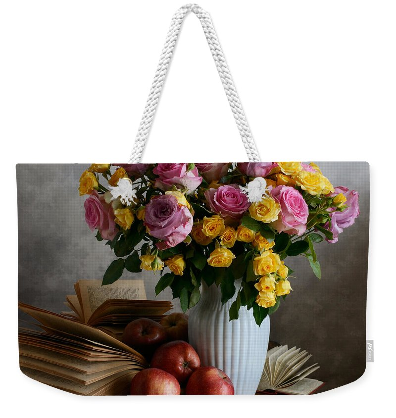 Vase Weekender Tote Bag featuring the photograph Bouquet Of Flowers In White Vase by Nikolay Panov