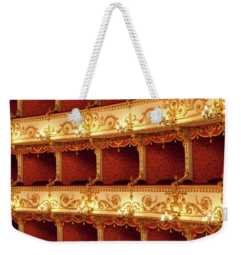 Event Weekender Tote Bag featuring the photograph Boxes Of Italian Antique Theater by Naphtalina