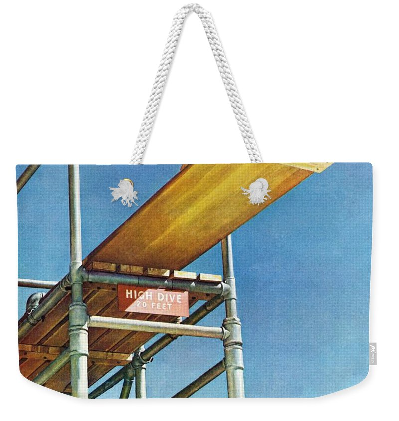 Boy Weekender Tote Bag featuring the drawing Boy On High Dive by Norman Rockwell
