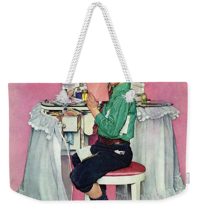Boy Weekender Tote Bag featuring the drawing boy Reading His Sister's Diary by Norman Rockwell