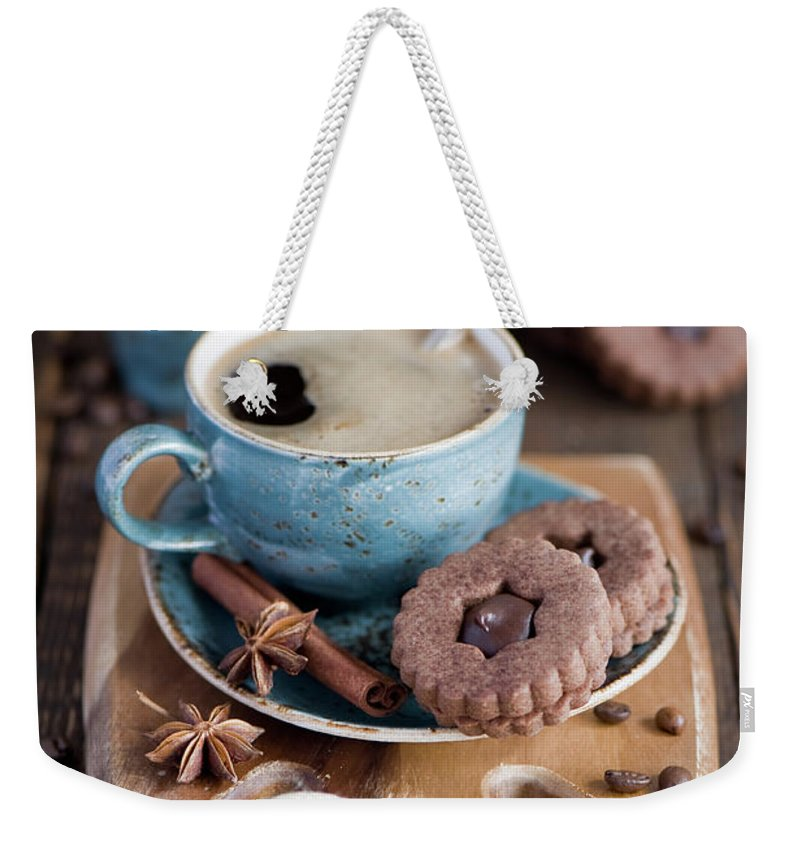 Breakfast Weekender Tote Bag featuring the photograph Breakfast Coffee And Chocolate Cookies by Verdina Anna
