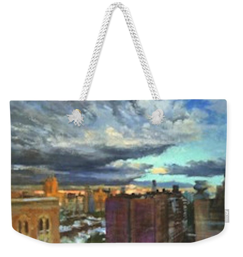 New York Weekender Tote Bag featuring the painting Breaking Clouds At Sunset by Peter Salwen