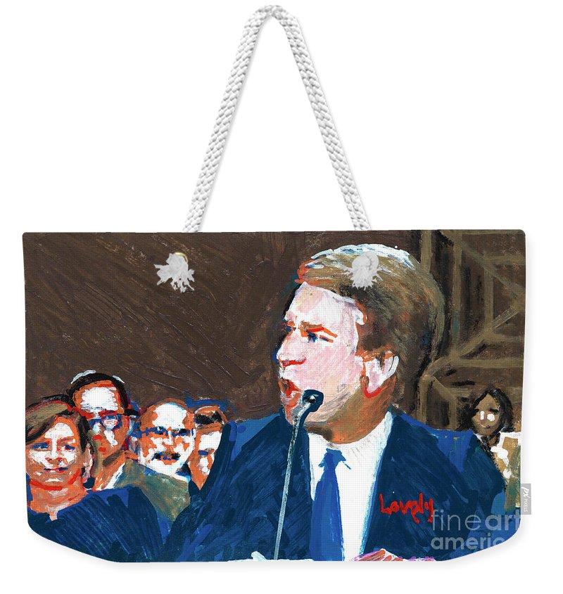 Christine Blasey Ford Testifies Before Senate Weekender Tote Bag featuring the painting Brett Kavanaugh Testifies Before Senate by Candace Lovely