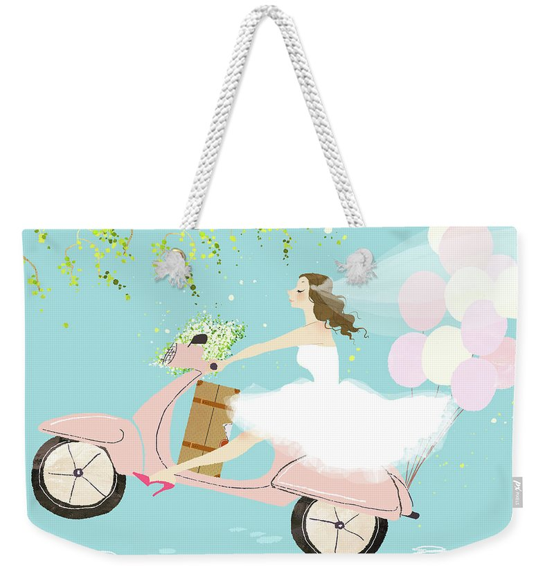 People Weekender Tote Bag featuring the digital art Bride On Scooter by Eastnine Inc.