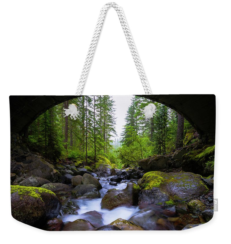 Bridge Below Rainier Weekender Tote Bag featuring the photograph Bridge Below Rainier by Chad Dutson